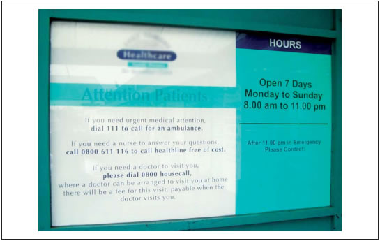 Figure 2: An after-hours information sign.