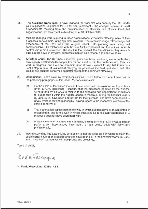 Report of Sir David Gascoigne - page 4.