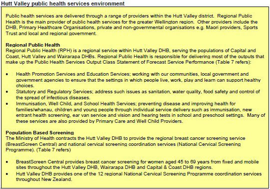 Table detailing Hutt Valley public health services environment.