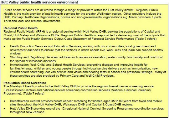 Table detailing Hutt Valley public health services environment