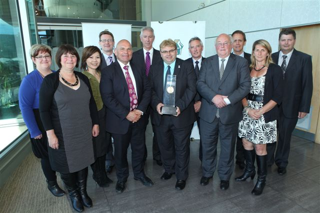 Hutt City Council staff with their business excellence award.