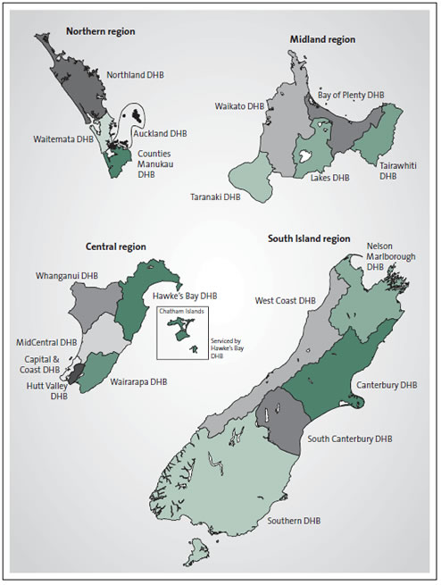 Figure 1: Map of the four health sector regions and their district health boards.
