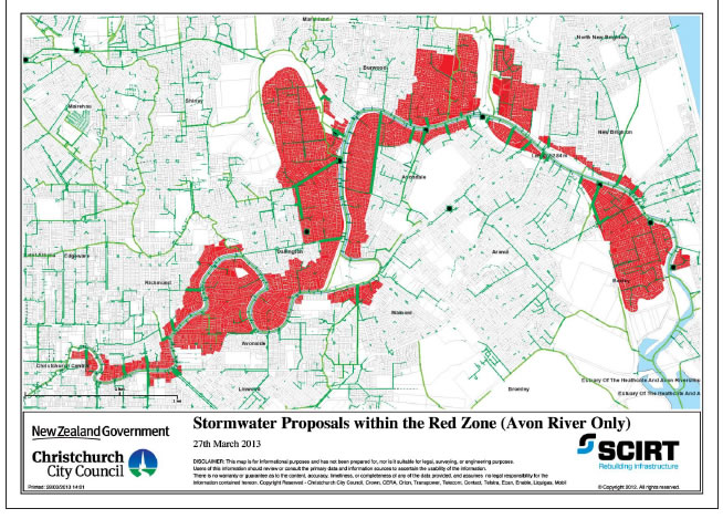 Figure 12 Red zone land around the Avon River with stormwater reinstatement proposals.