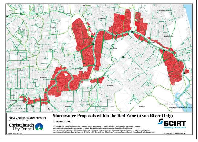 Figure 12 Red zone land around the Avon River with stormwater reinstatement proposals.