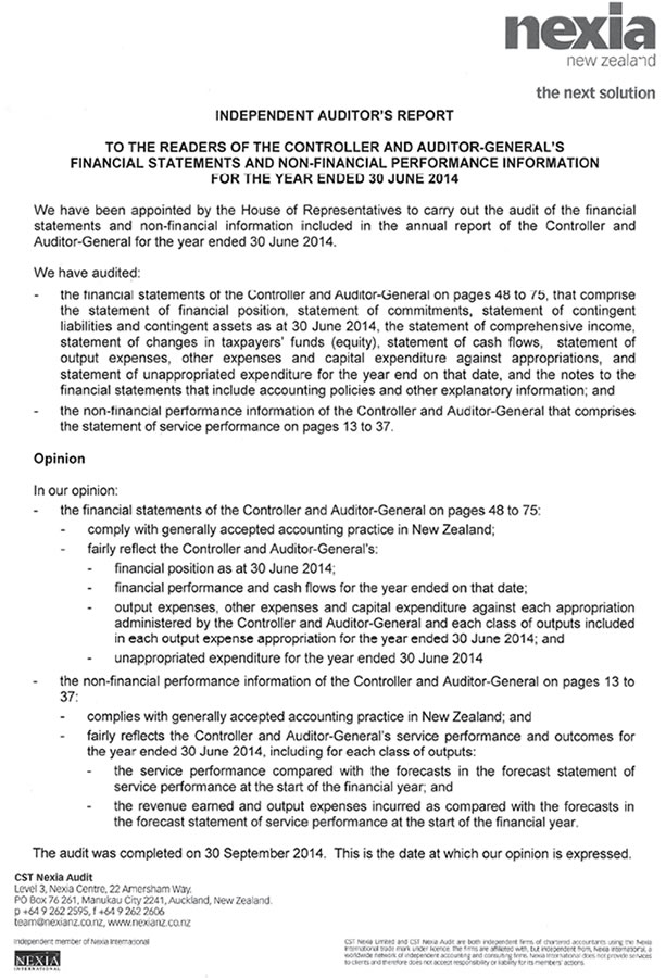 Page 1 of the Audit report.
