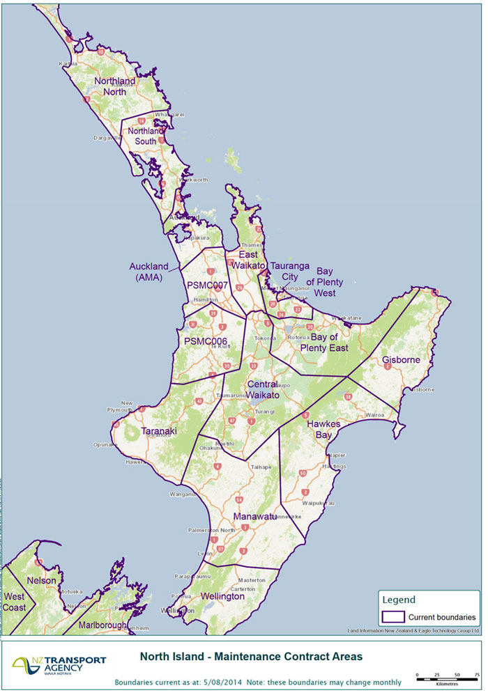 North Island maintenance contract areas.