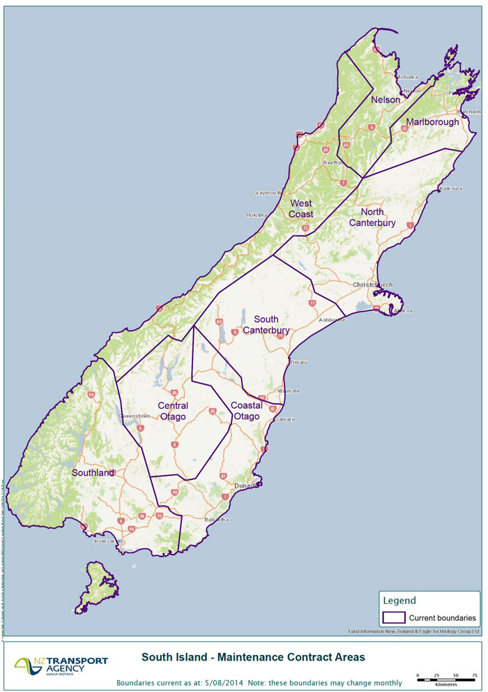 South Island maintenance contract areas.