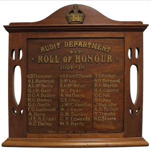 Our WW1 roll of honour board.