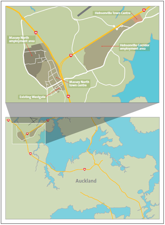 Figure 1 Map showing the location of the new Massey North town centre and nearby other Northern Strategic Growth Area projects.
