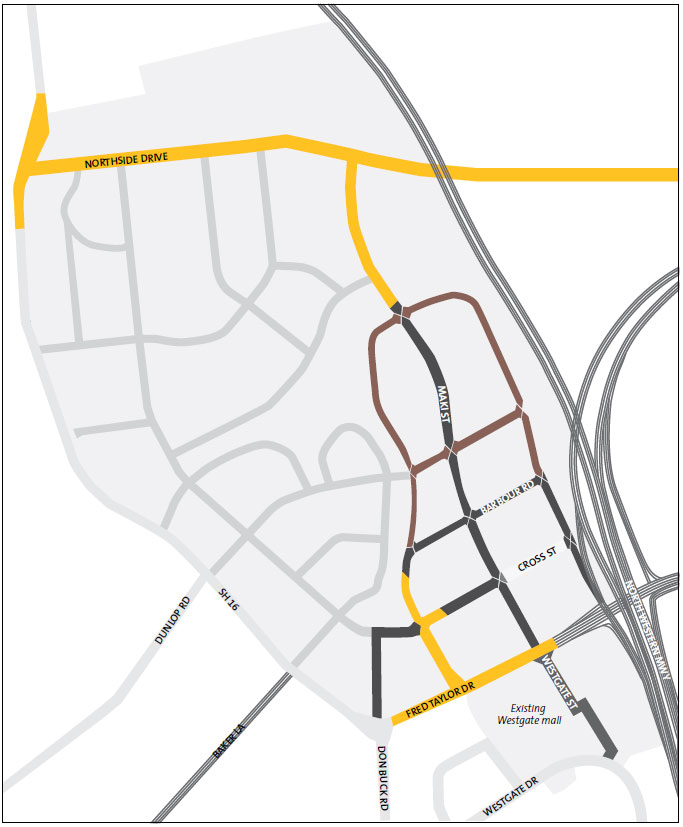 Figure 3: Massey North town centre roading network.