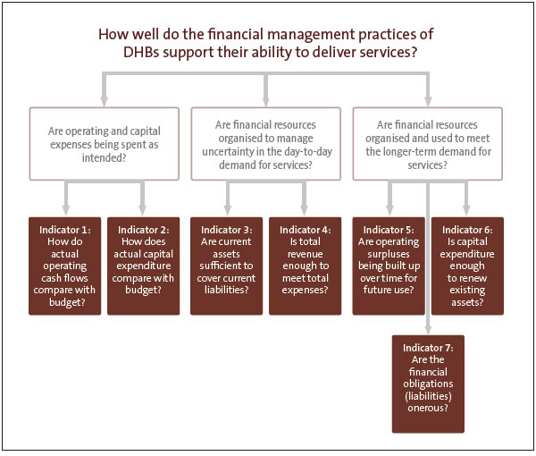 Figure 3 Questions and criteria for reviewing district health boards' financial management practices.