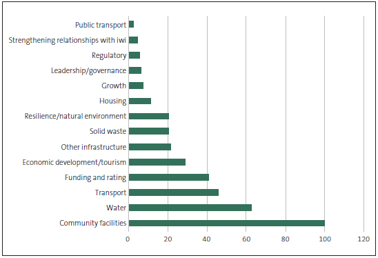 Figure 3 Number of issues presented to communities in the 2018-28 consultation documents, by category.