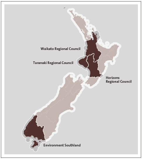 Figure 1 - The four regional councils' regions .