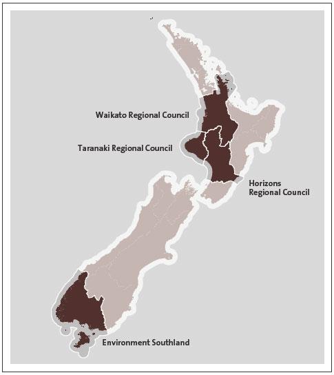Figure 1 - The four regional councils' regions .