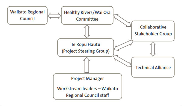 Figure 6 The Healthy Rivers: Plan for Change / Wai Ora: He Rautaki Whakapaipai project structure.