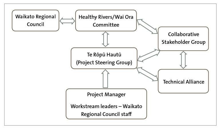 Figure 6 - The Healthy Rivers: Plan for Change / Wai Ora: He Rautaki Whakapaipai project structure