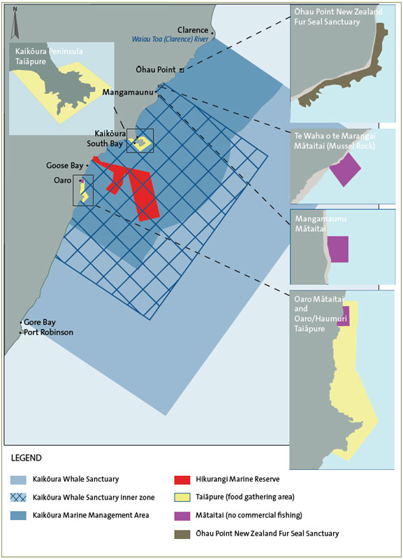 Figure 2 - This figure indicates the extent of the Kaikōura Marine Management Area, showing the Kaikōura Whale Sanctuary, the Hikurangi Marine Reserve, two taiāpure (food-gathering areas), three mātatai (no commercial fishing) reserves, and the Ōhau Point New Zealand Fur Seal Sanctuary.