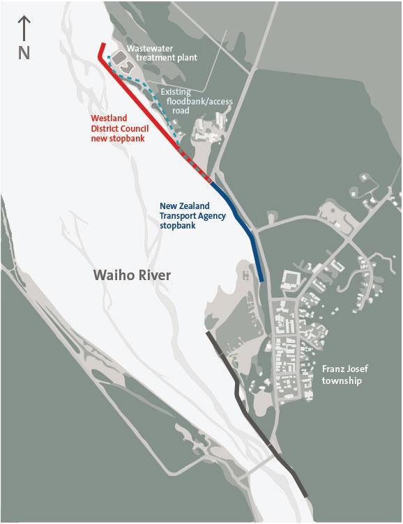 Stopbank along the Waiho River