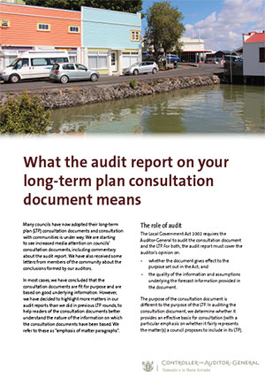 What the audit report on your long-term plan consultation document means