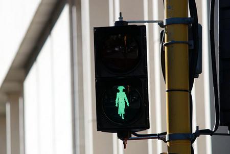 Kate Sheppard crossing lights in Wellington