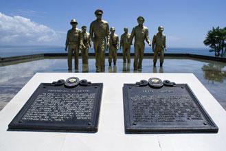 See http://www.tourisminthephilippines.com/city/Tacloban/leyte-landing-memorial/leyte-landing-memorial.php.