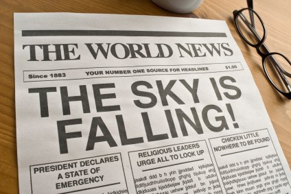 image of newspaper that says the sky is falling